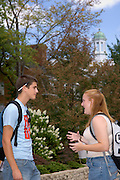 17076Students Morton Outside Campus Summer Fall Shots 9/06/05..Rebecca Scott & Kevin Wassio