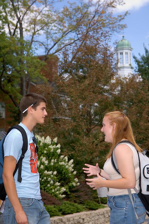 17076Students Morton Outside Campus Summer Fall Shots 9/06/05..Rebecca Scott & Kevin Wassio