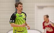 Carl-Emil Haunstrup (Nordsjælland) under kampen i Herrehåndbold Ligaen mellem Nordsjælland Håndbold og Aalborg Håndbold den 27. november 2019 i Helsinge Hallen (Foto: Claus Birch).