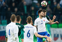 Michal Duris of Slovakia vs Miha Mevlja of Slovenia during football match between National teams of Slovenia and Slovakia in Round #2 of FIFA World Cup Russia 2018 qualifications in Group F, on October 8, 2016 in SRC Stozice, Ljubljana, Slovenia. Photo by Vid Ponikvar / Sportida