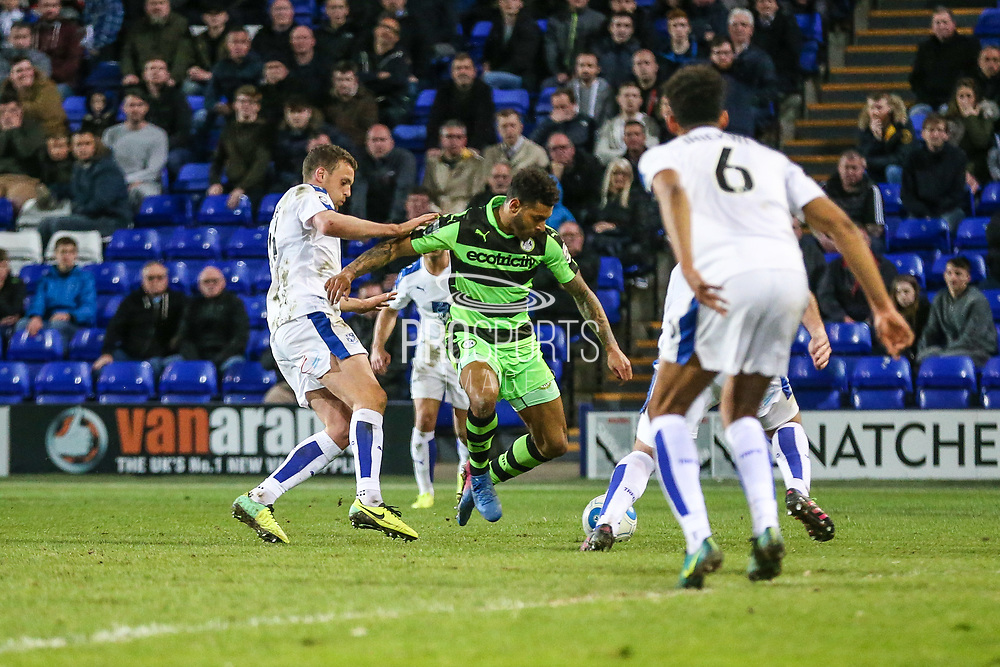 Forest Green Rovers Kaiyne Woolery(14) prepares to shoot to put his team ahead during the Vanarama National League match between Tranmere Rovers and Forest Green Rovers at Prenton Park, Birkenhead, England on 11 April 2017. Photo by Shane Healey.