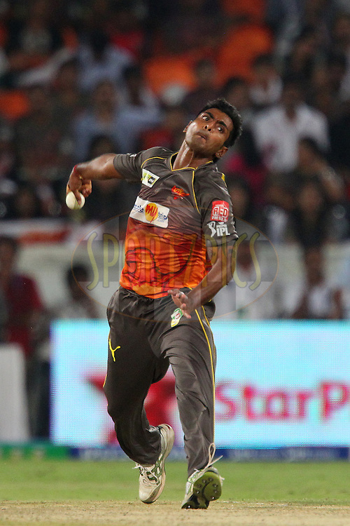 Ashish Reddy during match 3 of of the Pepsi Indian Premier League between The Sunrisers Hyderabad and The Pune Warriors held at the Rajiv Gandhi International  Stadium, Hyderabad  on the 5th April 2013..Photo by Ron Gaunt-IPL-SPORTZPICS..Use of this image is subject to the terms and conditions as outlined by the BCCI. These terms can be found by following this link:..http://www.sportzpics.co.za/image/I0000SoRagM2cIEc