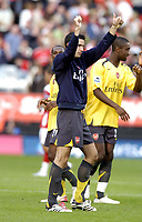 Photo: Olly Greenwood.<br />Charlton Athletic v Arsenal. The Barclays Premiership. 30/09/2006. Arsenal's Robin Van Persie celebrates after the game