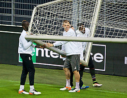 DORTMUND, GERMANY - Wednesday, April 6, 2016: Liverpool's Martin Skrtel and his team-mates move a goal during a training session at Westfalenstadion ahead of the UEFA Europa League Quarter-Final 1st Leg match against Borussia Dortmund. (Pic by David Rawcliffe/Propaganda)