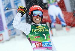 27.10.2018, Rettenbach Ferner, Sölden, AUT, FIS Weltcup Ski Alpin, Sölden, Riesenslalom, Damen, 2. Lauf, im Bild Federica Brignone (ITA) // Federica Brignone (ITA) reacts after her 2nd run of the ladie's Giant Slalom of the FIS Ski Alpine Worldcup opening at the Rettenbach Ferner in Sölden, Austria on 2018/10/27. EXPA Pictures © 2018, PhotoCredit: EXPA/ SM<br /> <br /> *****ATTENTION - OUT of GER*****