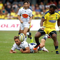 Alivereti Raka of Clermont and Loris Tolot of Agen during Top 14 match between Clermont and Agen on August 25, 2018 in Perpignan, France. (Photo by Romain Biard/Icon Sport)