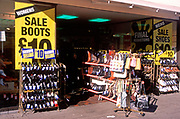 A728JA Shoe shop sale display with pairs at £10 each British high street shopping
