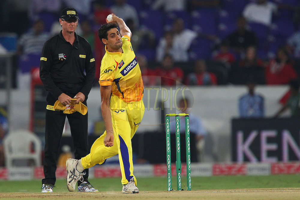 Ashish NEHRA of the Chennai Superkings  during the second semi final match of the Oppo Champions League Twenty20 between the Kings XI Punjab and the Chennai Superkings held at the Rajiv Gandhi Cricket Stadium, Hyderabad, India on the 2nd October 2014<br /> <br /> Photo by:  Ron Gaunt / Sportzpics/ CLT20<br /> <br /> <br /> Image use is subject to the terms and conditions as laid out by the BCCI/ CLT20.  The terms and conditions can be downloaded here:<br /> <br /> http://sportzpics.photoshelter.com/gallery/CLT20-Image-Terms-and-Conditions-2014/G0000IfNJn535VPU/C0000QhhKadWcjYs