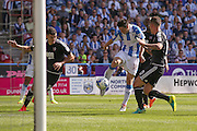 Huddersfield Town midfielder Joe Lolley (18)  with a shot  during the EFL Sky Bet Championship match between Huddersfield Town and Brentford at the John Smiths Stadium, Huddersfield, England on 6 August 2016. Photo by Simon Davies.