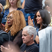 2019 US Open Tennis Tournament- Day Thirteen.    Meghan Markle, Duchess of Sussex next to Oracene Price, mother of Serena Williams in the the team box as Serena Williams of the United States arrives on court for her match against Bianca Andreescu of Canada in the Women's Singles Final on Arthur Ashe Stadium during the 2019 US Open Tennis Tournament at the USTA Billie Jean King National Tennis Center on September 7th, 2019 in Flushing, Queens, New York City.  (Photo by Tim Clayton/Corbis via Getty Images)
