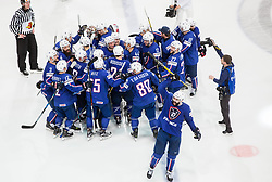 Sacha Treille of France and other players of France celebrate after winning during the 2017 IIHF Men's World Championship group B Ice hockey match between National Teams of France and Belarus, on May 12, 2017 in AccorHotels Arena in Paris, France. Photo by Vid Ponikvar / Sportida