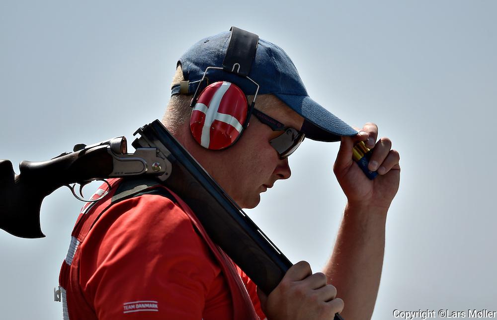 UK Caption<br /> 20150621, Baku 2015 European Games. <br /> Skeet shooting. Jesper Hansen (DEN), Finale<br /> DK caption:<br /> 20150621, Baku, Aserbajdsjan:<br /> Skeet skydning. Jesper Hansen (DEN), Finale<br /> Foto: Lars M&oslash;ller
