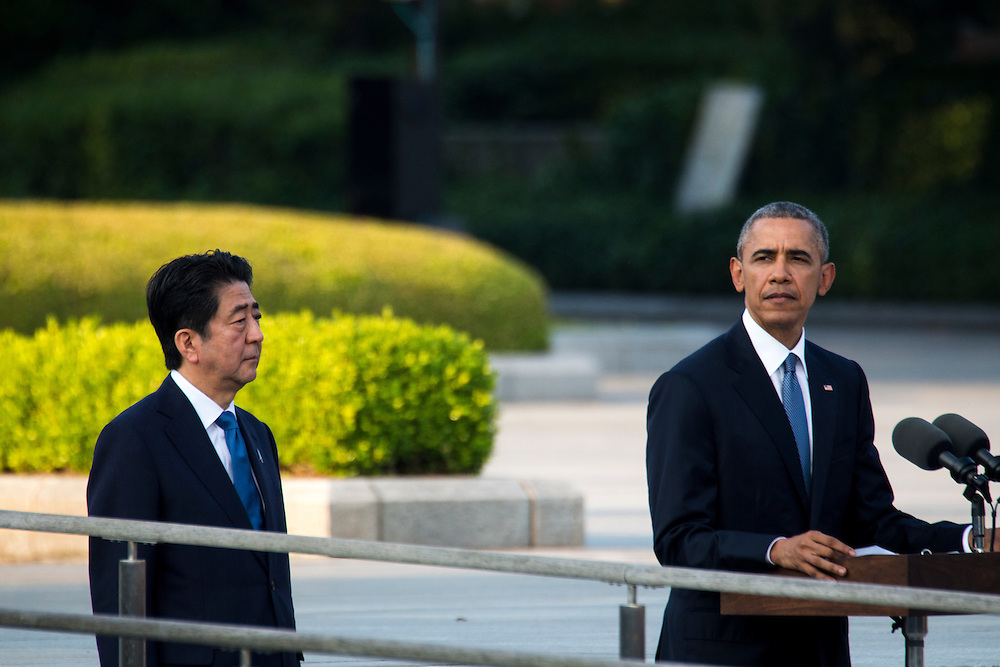 HIROSHIMA, JAPAN - MAY 27 : U.S. President Barack Obama speech in front of the Hiroshima Peace Memorial Park in Hiroshima, Japan on May 27, 2016. US President Barack Obama is the first American president to visit Hiroshima after United States of America dropped Atomic bomb in Hiroshima on August 6, 1945.<br /> <br /> Photo: Richard Atrero de Guzman<br /> <br />  <br /> <br /> <br /> <br /> <br /> <br /> Photo: Richard Atrero de Guzman