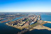 Nederland, Noord-Holland, Amsterdam, 11-12-2013; IJburg met Haveneiland en Rietlanden (li). Rechts Benno Premeselabrug en Blijburg, begin van IJburg II (Centrum eiland). <br /> Overview of IJburg, the new urban development district of Amsterdam, highrise buildings of the the Haveneiland( Harbour Island) (m).<br /> luchtfoto (toeslag op standard tarieven);<br /> aerial photo (additional fee required);<br /> copyright foto/photo Siebe Swart