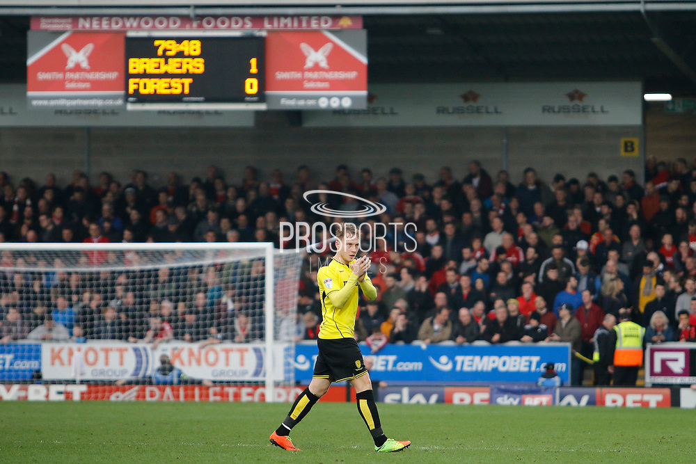 Burton Albion striker Cauley Woodrow's (12) winning goalscorer (1-0) during the EFL Sky Bet Championship match between Burton Albion and Nottingham Forest at the Pirelli Stadium, Burton upon Trent, England on 11 March 2017. Photo by Richard Holmes.