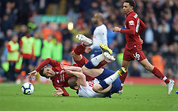 LIVERPOOL, ENGLAND - Sunday, March 31, 2019: Liverpool's Roberto Firmino fall down with Tottenham Hotspur's Jan Vertonghen <br /> during the FA Premier League match between Liverpool FC and Tottenham Hotspur FC at Anfield. (Pic by David Rawcliffe/Propaganda)