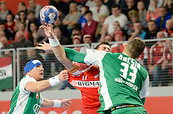 LAUGE SCHMIDT Rasmus of Denmark vs. ANCSIN Gabor of Hungary during handball match between National teams of Denmark and Hungary on Day 2 in Preliminary Round of Men's EHF EURO 2018, on Januar 13, 2018 in Skolsko Sportska Dvorana, Varazdin, Croatia. Photo by Mario Horvat / Sportida