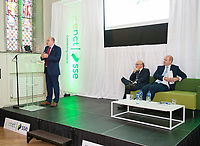 07/09/2017 David C. McCourt, founder of Granahan McCourt Capital and Chairman of enet  and Stephen Wheeler, MD SEE Ireland with Minister Naughten (speaking) who announced a joint venture between enet and SSE which will roll-out superfast broadband to 115,000 premises in regional Ireland. <br />  Photo:Andrew Downes, xposure