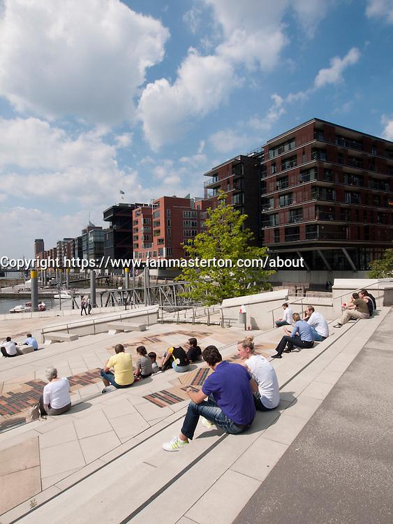 Modern apartment buildings constructed at Magellan Terrassen st  Sandtorhafen in new Hafencity property development in Hamburg Germany
