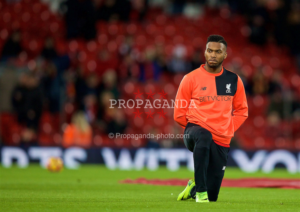 LIVERPOOL, ENGLAND - Saturday, December 31, 2016: Liverpool's Daniel Sturridge warms-up before the FA Premier League match against Manchester City at Anfield. (Pic by David Rawcliffe/Propaganda)