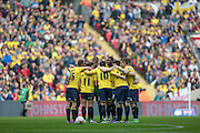 Oxford players before kick-off in the Johnstone's Paint Trophy Final between Barnsley and Oxford United at Wembley Stadium, London, England on 3 April 2016. Photo by Mark P Doherty.