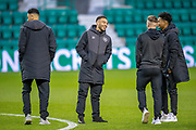 Jake Mulraney (#23) (centre) of Heart of Midlothian jokes with Callumn Morrison (#38) and Demetri Mitchell (#11)  of Heart of Midlothian the Ladbrokes Scottish Premiership match between Hibernian FC and Heart of Midlothian FC at Easter Road Stadium, Edinburgh, Scotland on 29 December 2018.