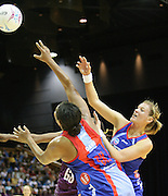 Leana De Bruin and Bilimai Davu defend for the Mystics during round 4 of the ANZ Netball Championship - Queensland Firebirds v Northern Mystics. Played at Brisbane Convention Centre. Firebirds (46) defeated the Mystics (40).  Photo: Warren Keir (SMP/Photosport).<br /> <br /> Use information: This image is intended for Editorial use only (e.g. news or commentary, print or electronic). Any commercial or promotional use requires additional clearance.