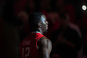 LUBBOCK, TX - JANUARY 13: Keenan Evans #12 of the Texas Tech Red Raiders takes the court during player introductions before the game against the West Virginia Mountaineers on January 13, 2018 at United Supermarket Arena in Lubbock, Texas. Texas Tech defeated West Virginia 72-71. (Photo by John Weast/Getty Images) *** Local Caption *** Keenan Evans