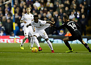 Ronaldo Vieira of Leeds United has his shirt pulled by Aston Villa's midfielder Conor Hourihane during the EFL Sky Bet Championship match between Leeds United and Aston Villa at Elland Road, Leeds, England on 1 December 2017. Photo by Paul Thompson.