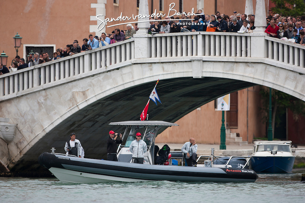 Artemis Racing wins the match race final against Luna Rossa and comes third in the final fleet race.  Sunday, May 20th 2012, AC45 World Series Venice.