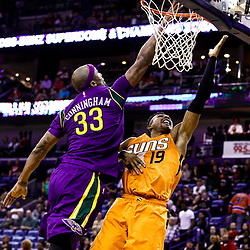 Feb 6, 2017; New Orleans, LA, USA; Phoenix Suns guard Leandro Barbosa (19) shoots over New Orleans Pelicans forward Dante Cunningham (33) during the second half of a game at the Smoothie King Center. The Pelicans defeated the Suns 111-106. Mandatory Credit: Derick E. Hingle-USA TODAY Sports