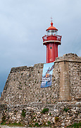 The lighthouse in Fort of Santa Catarina, Figueira da Foz, Portugal
