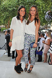 Left to right, VIOLET VON WESTENHOLZ and AMANDA CROSSLEY at the launch of Hideaways House at Morton's Club, Berkeley Square, London on 25th July 2012.