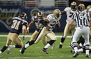 ST. LOUIS - SEPTEMBER 23:  Running back Antowain Smith #32 of the New Orleans Saints runs away from linebacker Pisa Tinoisamoa #50 and safety Adam Archuleta #3 of the St. Louis Rams at the Edward Jones Dome on September 23, 2005 in St. Louis, Missouri. The Rams defeated the Saints 28-17. ©Paul Anthony Spinelli *** Local Caption *** Antowain Smith;Pisa Tinoisamoa;Adam Archuleta