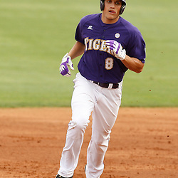 Apr 04, 2010; Baton Rouge, LA, USA; LSU Tigers out fielder Mikie Mahtook (8)rounds the bases following a first inning homerun against the Georgia Bulldogs at Alex Box Stadium. Mandatory Credit: Derick E. Hingle-US PRESSWIRE