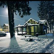 Nella foto il villaggio Leumann a Collegno .. Turin under snow, Torino sotto la neve.