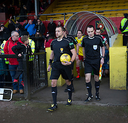 Ref Gavin Duncan leads the teams out. Albion Rover 1 v 2 Airdrie, Scottish League 1 game played 5/11/2016 at Cliftonhill.