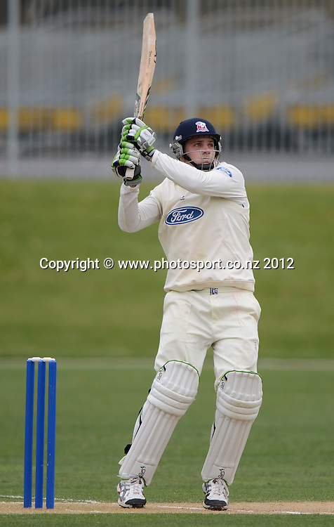 Mitchell McClenaghan batting for Auckland. Plunket Shield Cricket, Auckland Aces v Northern Knights at Eden Park Outer Oval. Monday 12 November 2012. Photo: Andrew Cornaga/Photosport.co.nz