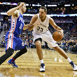 Feb 19, 2016; New Orleans, LA, USA; New Orleans Pelicans forward Ryan Anderson (33) is defended by Philadelphia 76ers guard Nik Stauskas (11) during the second quarter of a game at the Smoothie King Center. Mandatory Credit: Derick E. Hingle-USA TODAY Sports