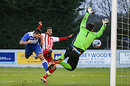Danny Crow of Lowestoft Town (left) scores his team's third goal against Brackley Town to make it 2-3 during the Conference North match at St. James Park, Brackley<br /> Picture by David Horn/Focus Images Ltd +44 7545 970036<br /> 24/01/2015