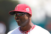 ANAHEIM, CA - JULY 21:  Howard Kendrick #47 of the Los Angeles Angels of Anaheim smiles during the game against the Texas Rangers on July 21, 2011 at Angel Stadium in Anaheim, California. The Angels won the game in a 1-0 shutout. (Photo by Paul Spinelli/MLB Photos via Getty Images) *** Local Caption *** Howard Kendrick
