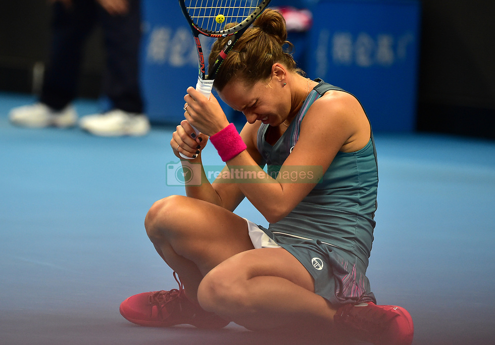BEIJING, Oct. 6, 2017  Barbora Strycova of the Czech Repubic reacts during the women's singles quarter-final match against her compatriot Petra Kvitova at the China Open tennis tournament in Beijing on Oct. 6, 2017. Barbora Strycova lost the match 0-2.  dx) (Credit Image: © Zhang Chenlin/Xinhua via ZUMA Wire)
