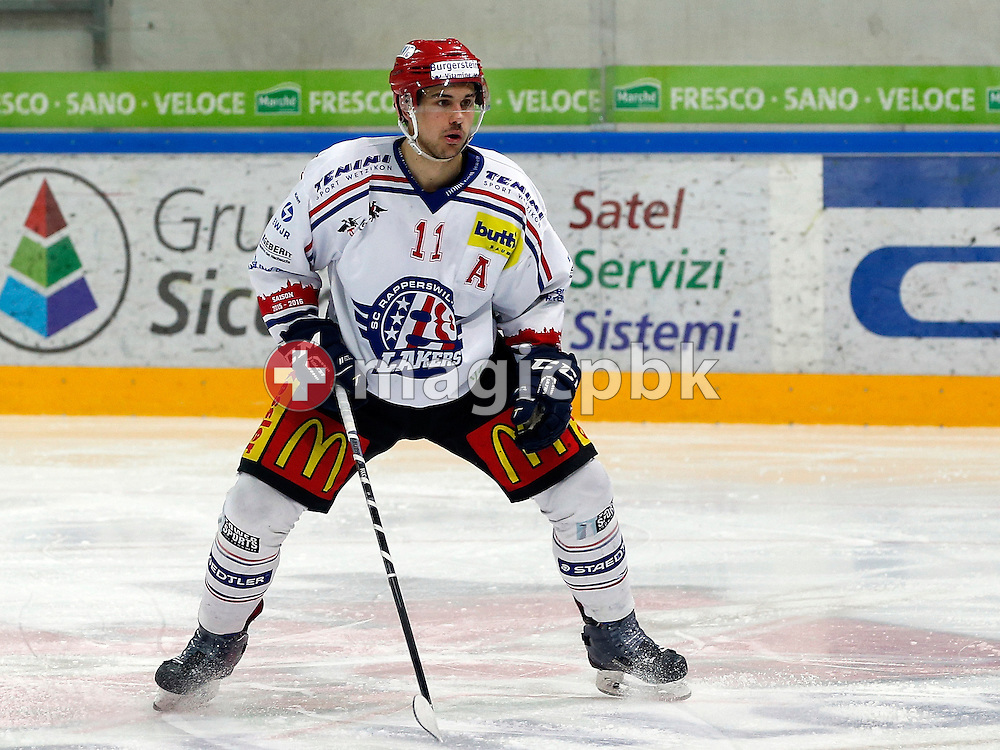 Rapperswil-Jona Lakers defenseman Pascal Blaser is pictured during an Elite A Ranking Round 9-13 ice hockey game between HC Lugano and Rapperswil-Jona Lakers held at the Pista Resega Arena in Porza / Lugano, Switzerland, Friday, March 18, 2016. (Photo by Patrick B. Kraemer / MAGICPBK)