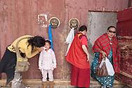 Mongolia. Children fashion , in the temple of Erdeni Zuu  Hakhorin -     Deux par Deux collection  /  Mode enfant dans le temple de Erdene Zuu  Karakorum - Mongolie   /  05
