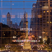The window of the Time Warner Center in New York City overlooking Columbus Circle