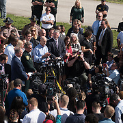 THURSDAY, FEBRUARY 15- 2018---PARKLAND, FLORIDA--<br /> Broward County Sheriff Scott Israel and Florida Governor Rick Scott during a press conference outside Marjory Stoneman Douglass High School one day after a mass shooting with 17 casualties.<br /> (Photo by Angel Valentin/FREELANCE)