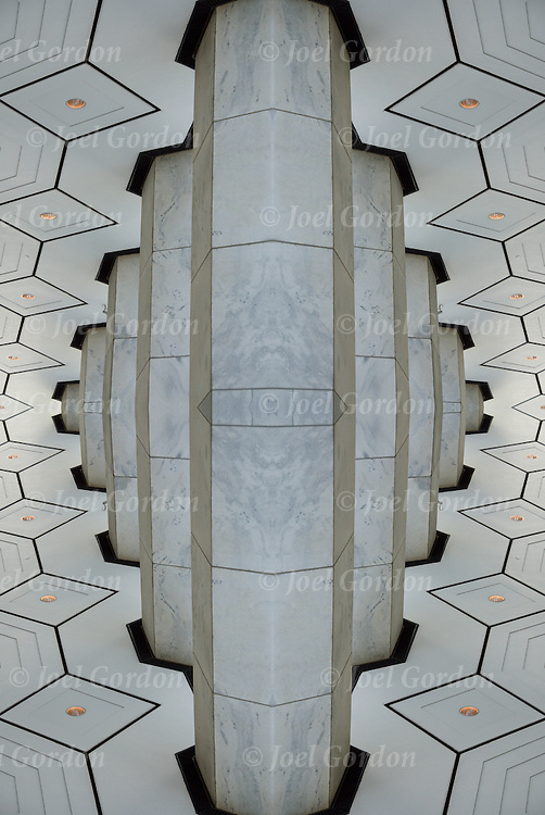 Kaleidoscope of mirror images of the exterior architectural pattern details of General Motors Building in NYC
