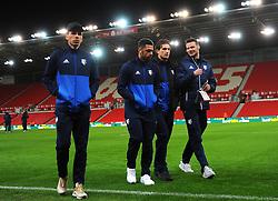 Watford players inspect the pitch before kick-off  - Mandatory by-line: Nizaam Jones/JMP - 31/01/2018 - FOOTBALL - Bet365 Stadium - Stoke-on-Trent, England - Stoke City v Watford - Premier League