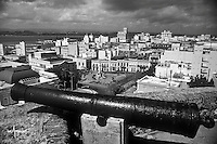 Cannon of Fort San Cristóbal overlooking Plaza Colón