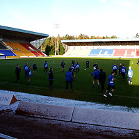 St Johnstone squad training on a clear pitch at McDermid Park, Perth thanks to the undersoil heating, hopefully tommorrow's game against Hearts will go ahead<br />